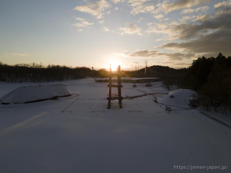 三内丸山遺跡 冬の日没