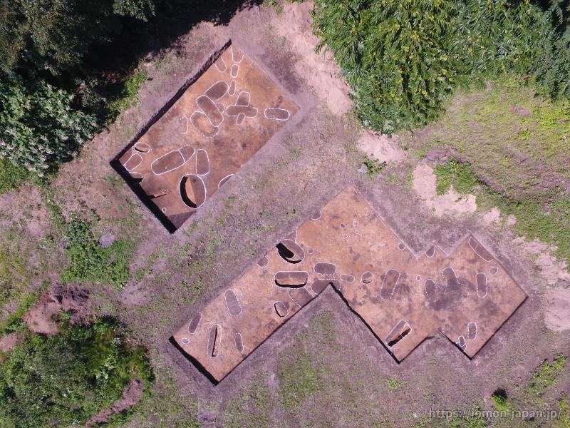 亀ヶ岡石器時代遺跡 土坑墓 空撮