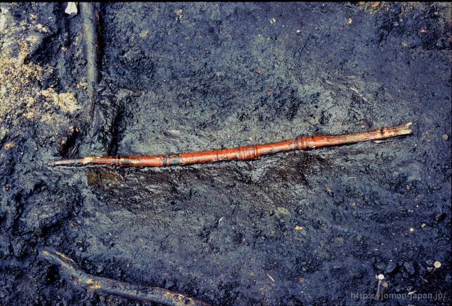 是川石器時代遺跡 漆塗り弓出土状況