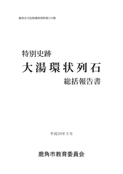 大湯環状列石発掘調査報告書