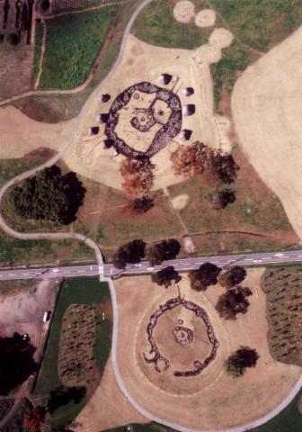 Aerial photo of the Stone Circles (lower: Nonakado; upper: Manza)