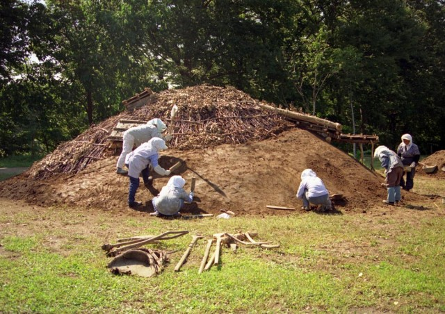 Trial restoration of a pit dwelling with a soil roof