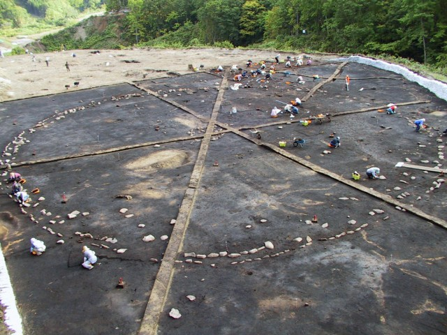 Overview of the stone circle (during excavations)