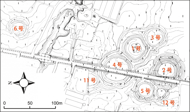 Survey map of the Kiusu Earthwork Burial Circles