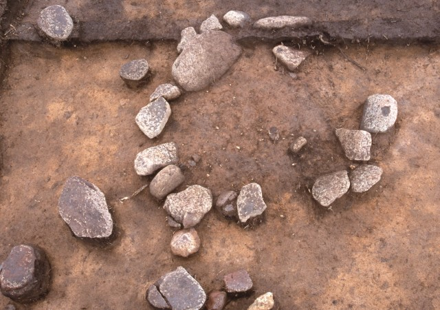 Hearth with stones