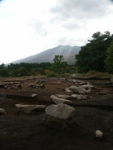 Stone arrangement and Mt. Iwaki