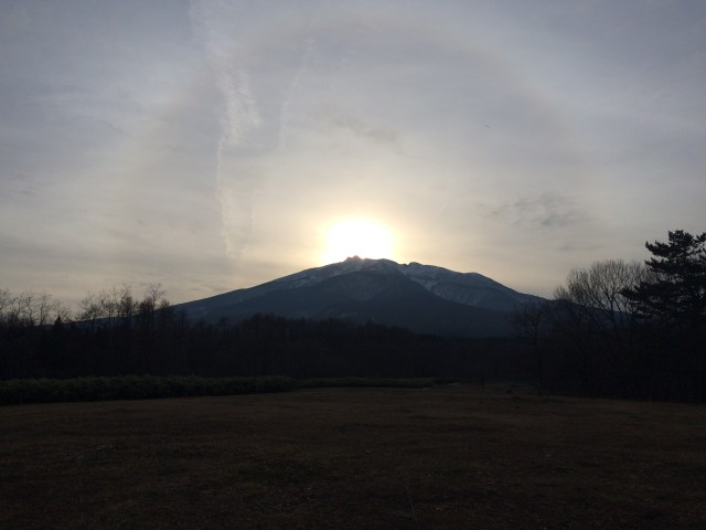 Sunset over the top of Mt.Iwaki