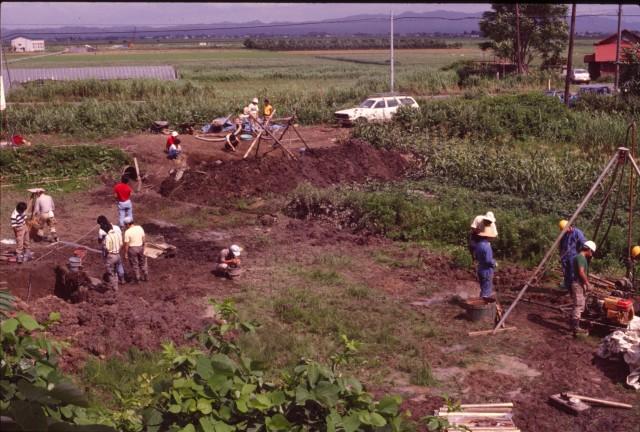 低湿地の発掘調査風景