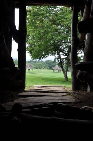 御所野縄文公園(竪穴建物の中から)