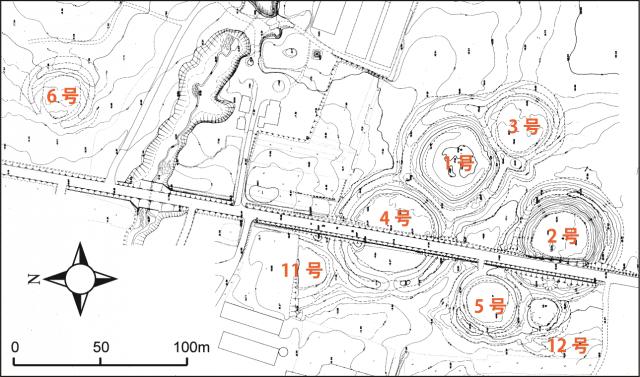 キウス周堤墓群の実測図